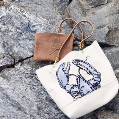 Lobster Tote and Leather Maine Clutch
