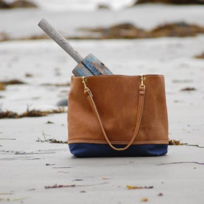 Leather and Navy Waxed Canvas Tote