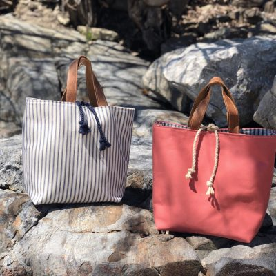 Nantucket Red and Navy Ticking Totes