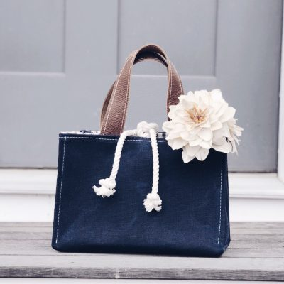 Navy Waxed Canvas Retro Bag